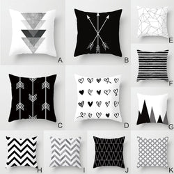 Black White Geometry Pattern Cushion Cover Geometric Printed Pillowcase