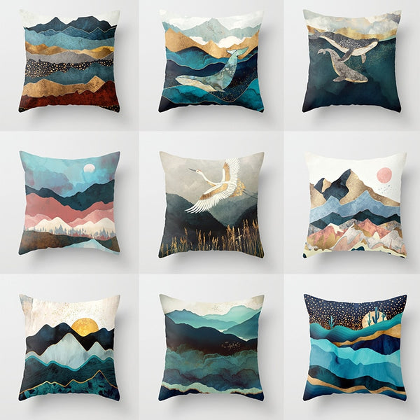 Geometric Mountain Peaks Sun Whale Creative Cushion Cover 45x45cm