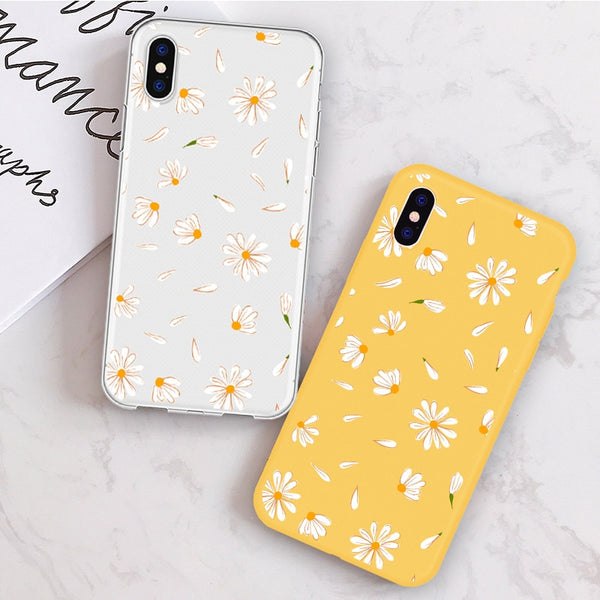 Daisy Cute Flower Candy Color Cartoon Summer Transparent Silicone Coque Phone Cases For iPhone