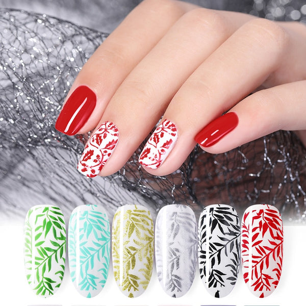 Bright Color Nail Stamping Gel Polish Black White 8ml Soak Off Nail Gel Lacquer Varnish For Stamping Plate