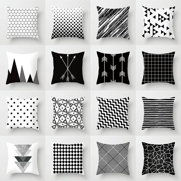 Black and White Geometric Abstract Decorative Pillowcases 45*45cm