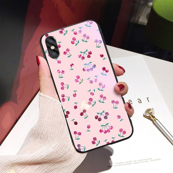 Hard Glass Back Cover Silicone Shell Wave Flower For Phone Case For iPhone