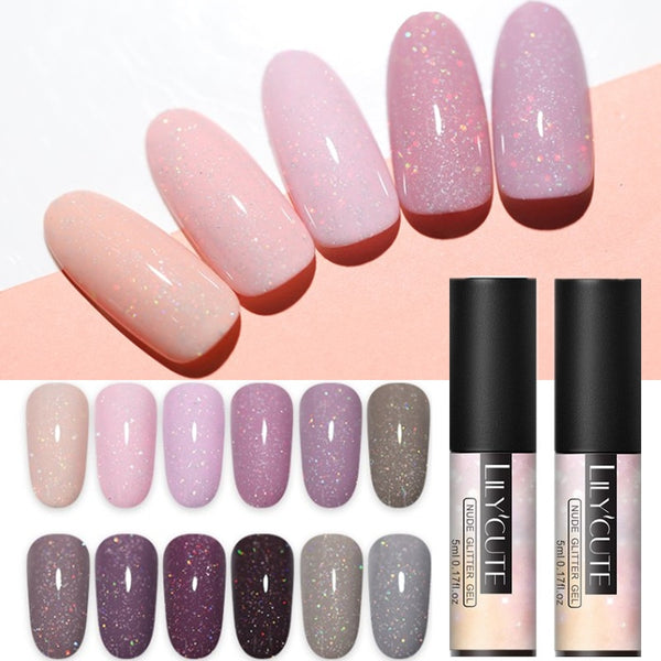 5ml Nude Color UV Gel Holographic Glitter Sequins Semi Permanent Soak Off Nail Art Gel