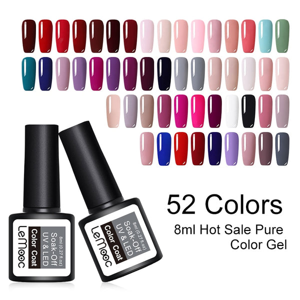 8ML UV Gel Nail Polish Pink Color Series Vernis Semi Permanant Gel Paint For Nails 52 Colors