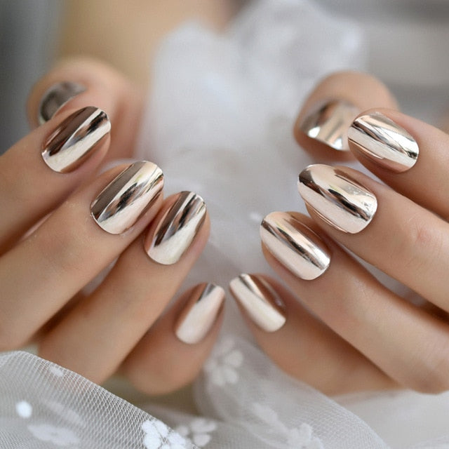 Mirror Silver False Nails STILETTO Point Metallic Acrylic Nail Tips 24pcs