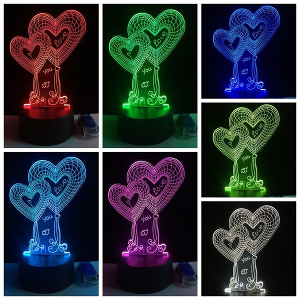 I LOVE YOU Sweet Lover Heart Balloon 3D LED 7 Color Luster Night Light