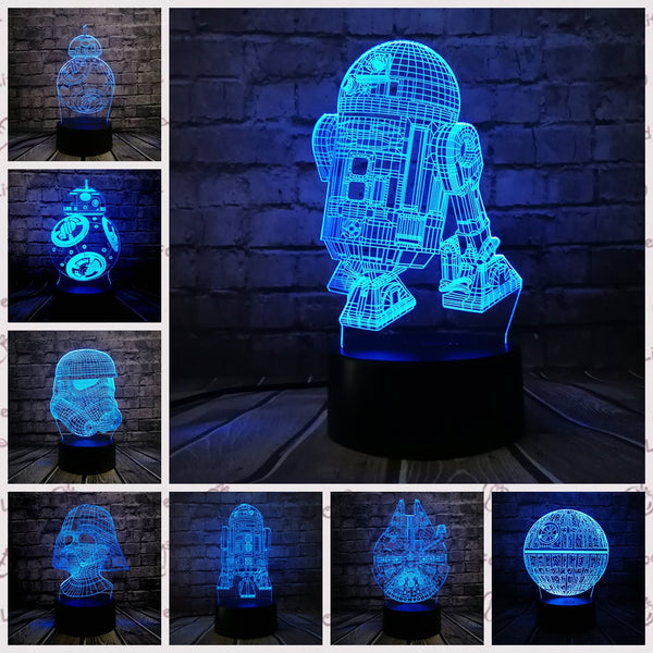 Death Star War R2D2 BB-8 Darth Vader Stormtrooper Knight LED NIGHT LIGHT