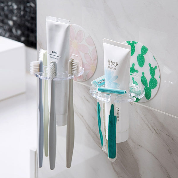 1PC Plastic Toothbrush Holder Toothpaste Storage Rack Shaver Tooth Brush Dispenser