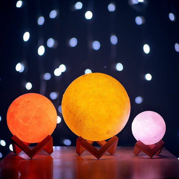 3D Print Moon Lamp Colorful Change Touch Usb Led Night Light