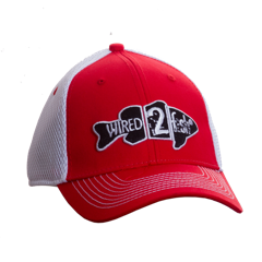 Fish Design Mesh Back Hat - Red