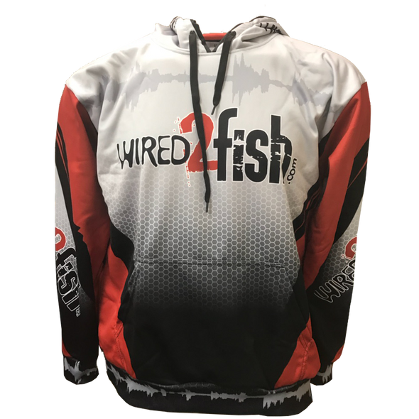 Wired2Fish Sublimated Performance Hoodie - Red/Grey