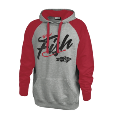 Wired2Fish Raglan Sleeve Colorblock Hoodie - Red/Grey