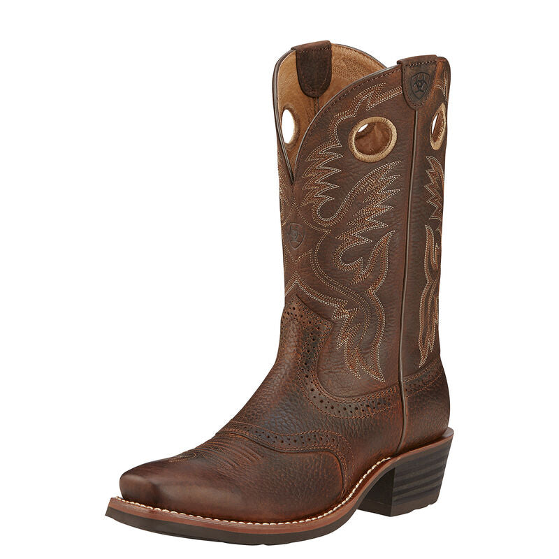 Corral Men's Brown Embroidery Wide Square Toe A4105