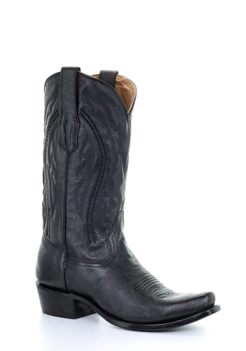 Corral Men's Black Embroidery Narrow Square Toe Cowboy Boots - A3446