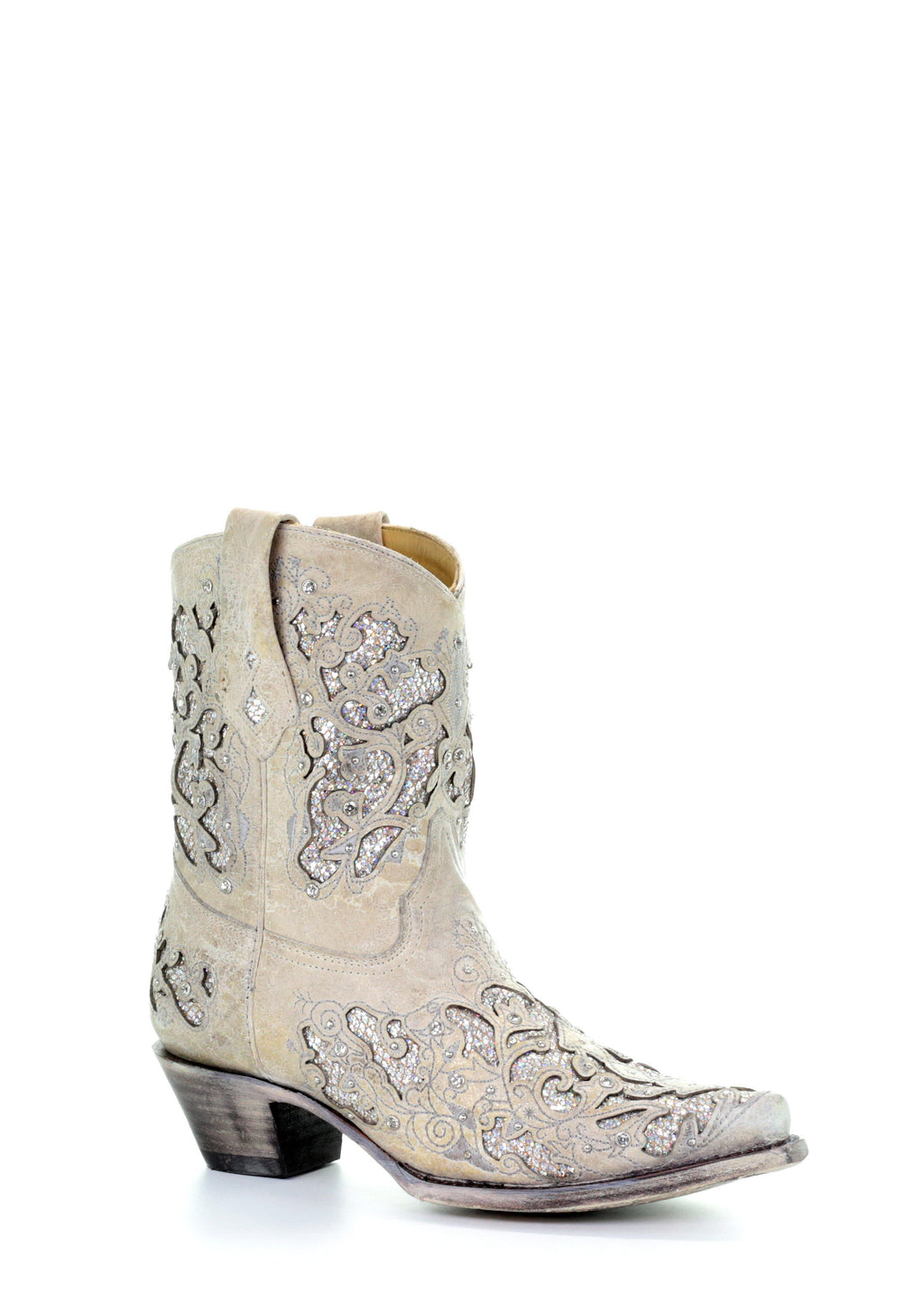 Corral White Glitter Inlay & Crystals Ankle Boots A3550