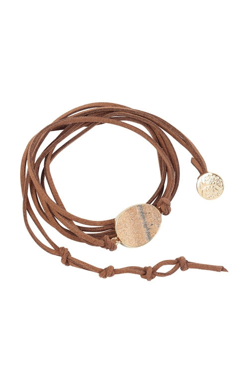 STONE CHARM MULTISTRAND WRAP BRACELET-LIGHT BROWN