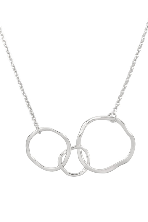 THREE ABSTRACTED ROUND CHAIN NECKLACE-SILVER