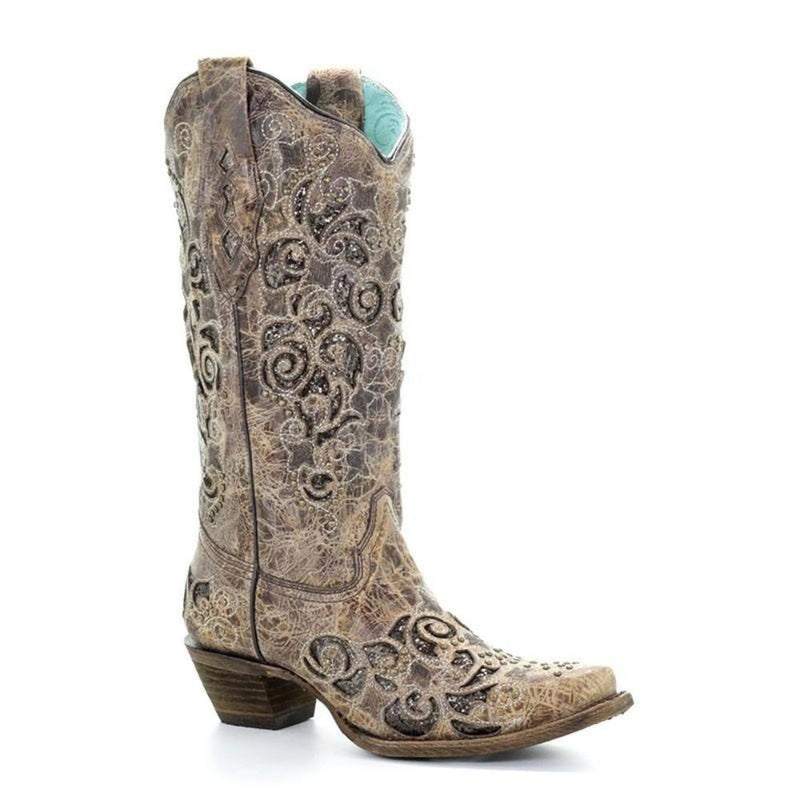 Corral Black Filigree Embroidered Boots L5433