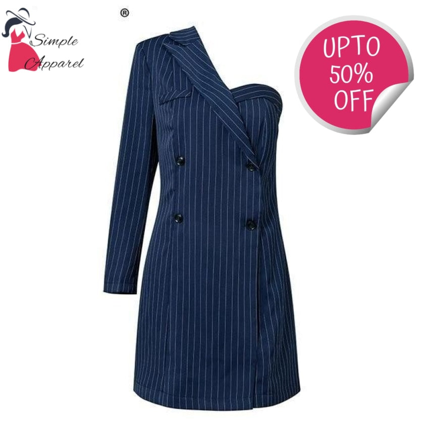 A-Line One Shoulder Stripe Suit Navy Blue / S