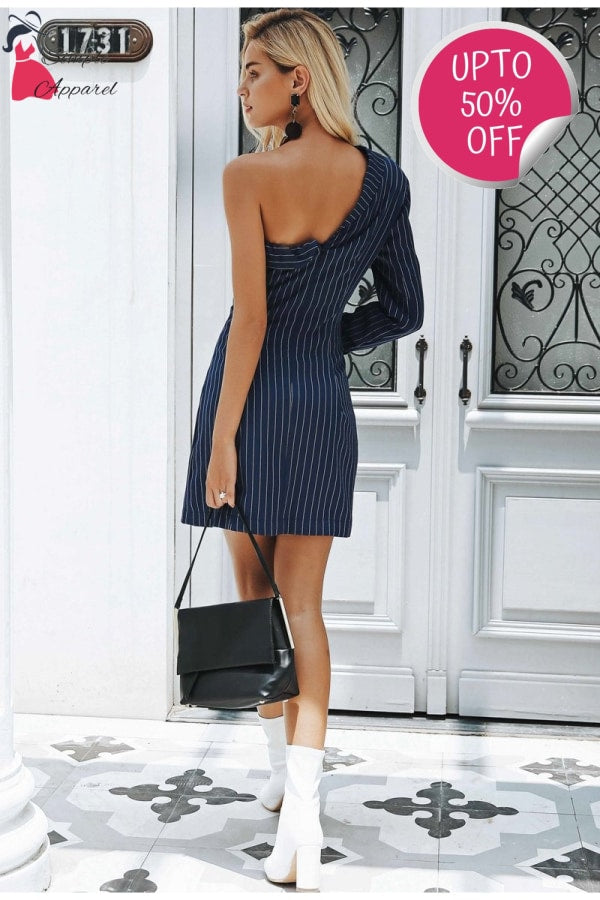 A-Line One Shoulder Stripe Suit