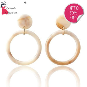 Acrylic Round Earrings Light Yellow Gold Color
