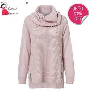Beading Turtleneck And Pearl Sweater
