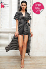 Boho Print Striped V Neck Backless Romper