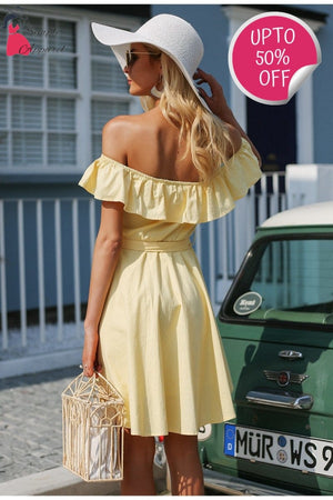 Buttoned Ruffle Off Shoulder