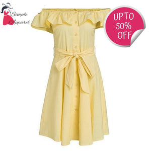 Buttoned Ruffle Off Shoulder Yellow / S