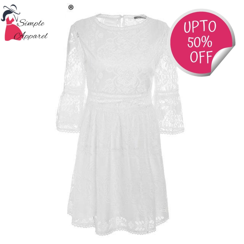 Casual Half Sleeves Short Dress White / S