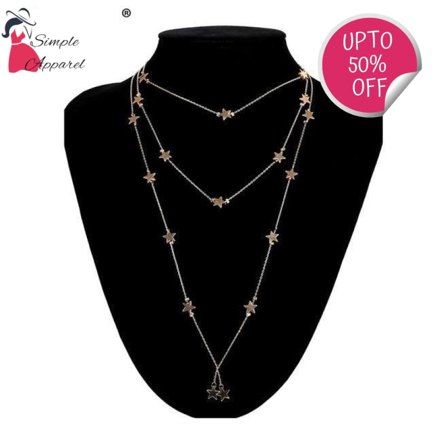 Chic Star Multilayer Statement Necklace Gold-Color