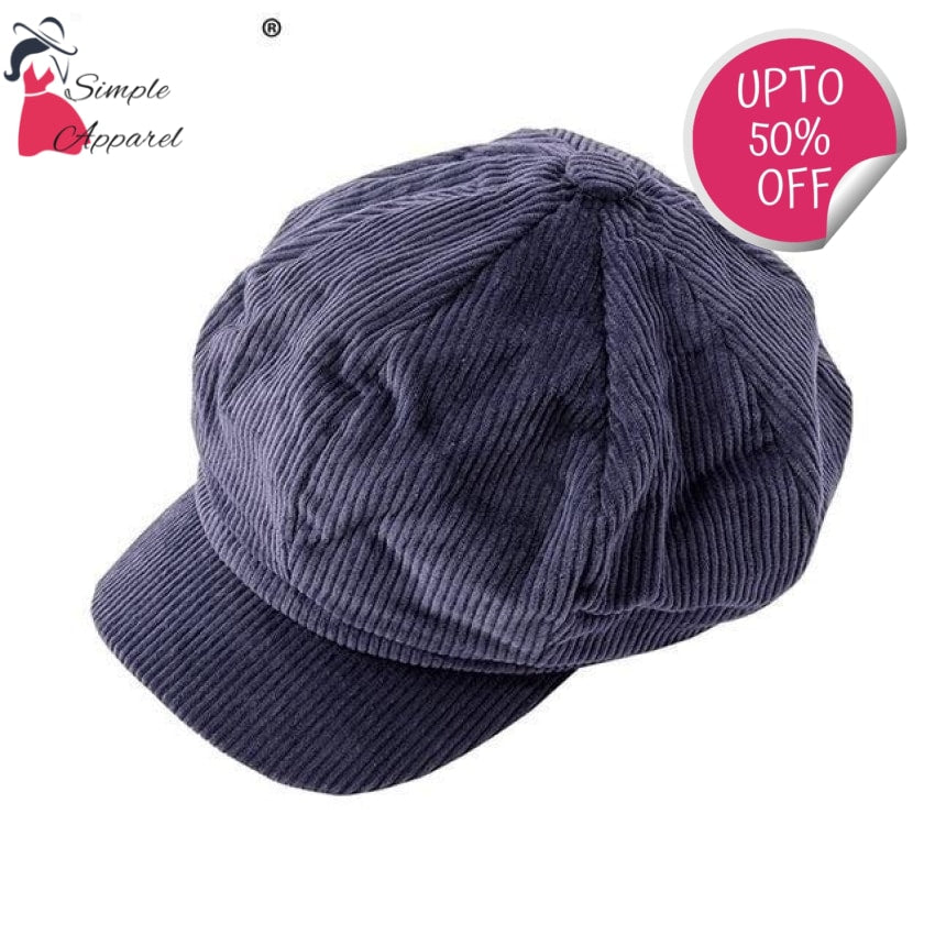 Corduroy Beret Women Navy Blue / One Size