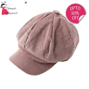 Corduroy Beret Women Pink / One Size