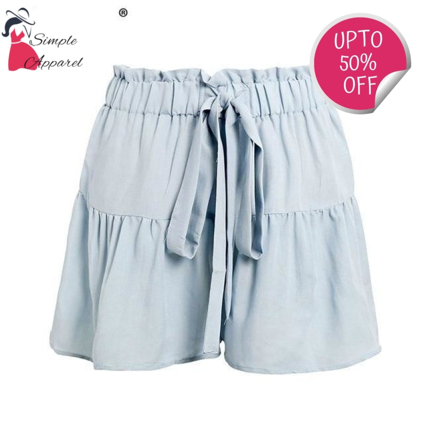 Drawstring Cotton Casual Shorts Blue / S