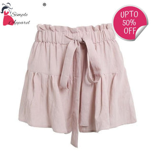Drawstring Cotton Casual Shorts Nude Pink / S