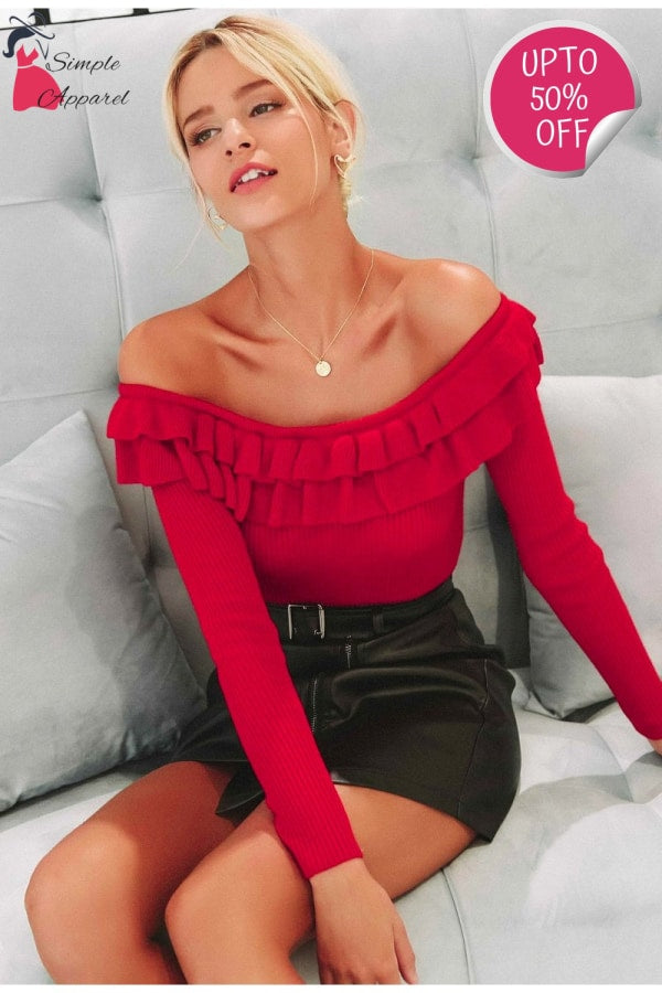 Elegant Ruffles Off Shoulder Sweater