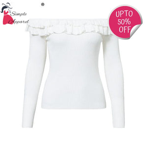 Elegant Ruffles Off Shoulder Sweater White / S