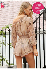 Elegant Sash Long Sleeve Ruffle Off Shoulder Print Romper