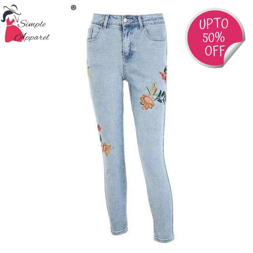 Floral Embroidery Women Jeans Light Blue / S
