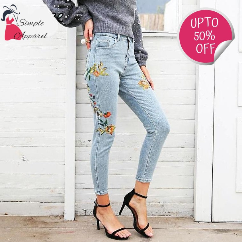 Floral Embroidery Women Jeans