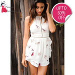 Hollow Out Flower Print Chiffon Romper