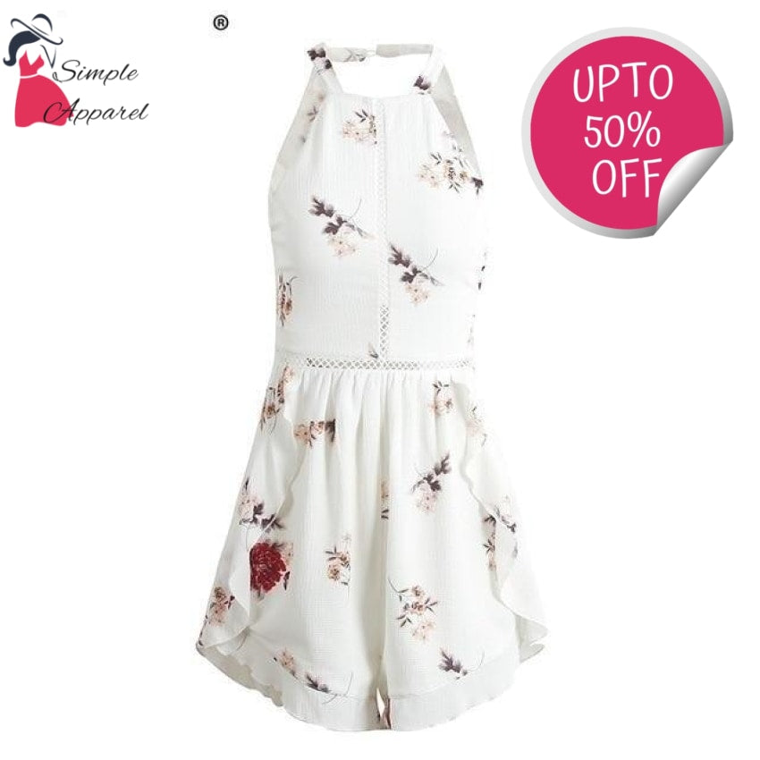 Hollow Out Flower Print Chiffon Romper White / S