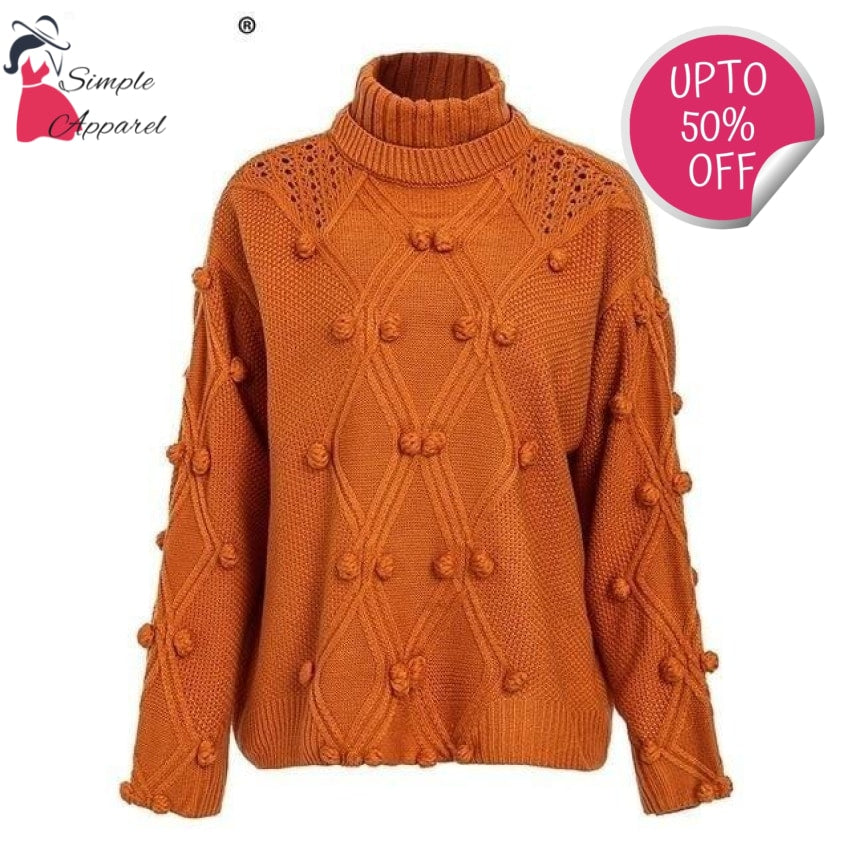 Hollow Out Knitted Turtleneck Sweater Orange / One Size