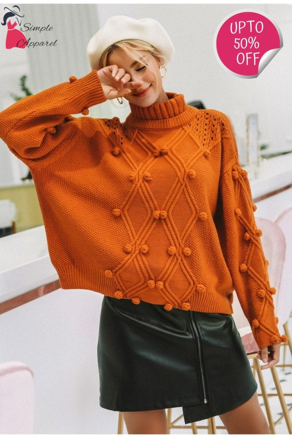 Hollow Out Knitted Turtleneck Sweater