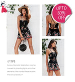 Lace Up Floral Embroidery Rompers