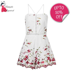 Lace Up Floral Embroidery Rompers White / S