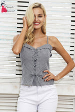 Lace Up Strap Camisole Tank Top