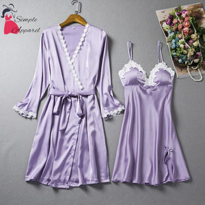 Loose Split Robe And Pyjama Set Light Purple / M