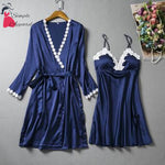 Loose Split Robe And Pyjama Set Navy Blue / M