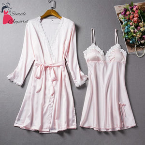 Loose Split Robe And Pyjama Set Pink / M